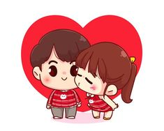Happy Cartoon, Cute Love Cartoons, Girl Cartoon, Cartoon Art, Valentine Cartoon, Valentine Love, Boy Cartoon Characters, Cute Characters, Fictional Characters