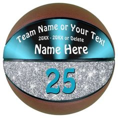 Turquoise and Silver Personalized Basketball Ball - tap, personalize, buy right now!  #turquoise #blue #silver #basketball #senior Basketball Room Decor, Basketball Gifts, Basketball Pictures, Basketball Coach, Team Pictures, Girls Basketball, Personalized Basketball, Custom Basketball, Blue And Silver