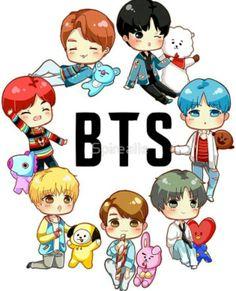 Bts Chibi, Bts Taehyung, Bts Jungkook, Bts Kawaii, Stickers Kawaii, Bts Army Logo, Bts Backgrounds, Bts Beautiful, Bts Drawings