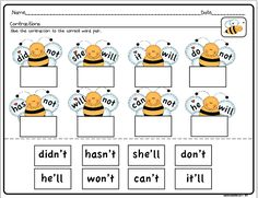 Great for an introduction to contractions in K/1st or as a quick review in 2nd!