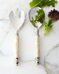 H85ZE Godinger Mother-of-Pearl Salad Servers, 2-Piece Set