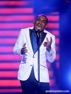 """Joshua Ledet performs """"When A Man Loves A Woman"""" by Michael Bolton at the Top 11 performance show."""