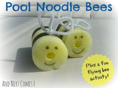 "And Next Comes L: Pool Noodle Bees - ""What will it Bee"" baby shower gender reveal party decoration idea."