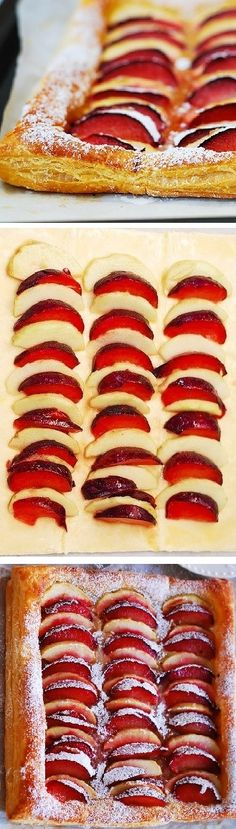 Plum and apple tart on puff pastry. #Thanksgiving #Fall #Holidays Puff Pastry Desserts, Puff Pastries, Puff Pastry Recipes, Plum Recipes, Fall Recipes, Sweet Recipes, Plum Desserts, Delicious Desserts, Yummy Food