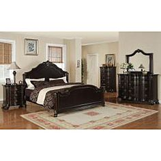 @Overstock - This king-size bed is an impressive centerpiece to any bedroom with deep merlot finish accented and gold highlights. A regal headboard with hand-carved decorative molding and motifs is traditional styling at its best.  http://www.overstock.com/Home-Garden/Jensen-King-size-Bed/6678924/product.html?CID=214117 $1,019.99