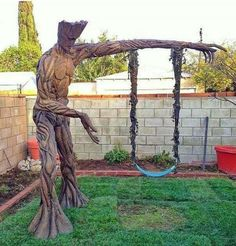 I want this!! A Gurdians of the Galaxy Groot swing set!!