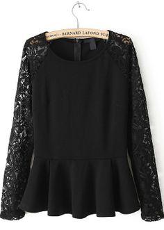 Black Lace Sleeve Ruffle Hem Peplum Top - Sheinside.com
