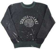 60's ブラックボディ2トーン! ''GENEVA OF THE LAKE'' スウェット 実寸(ML位) 味ありペンキ