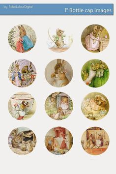 Free Bottle Cap Images: Beatrix Potter bottle cap images digital download - Peter Rabbit: