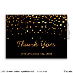 Gold Glitter Confetti Sparkles Black Thank You Greeting Card