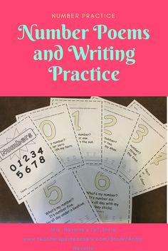 Number Poems and Writing Practice - Numbers 0-30, number writing, number recognition, with poems