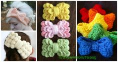 A Collection of different ways to crochet bows: bobble stitch bow, crocodile stitch bow, easy bow handband and more