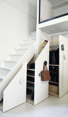 20 Admirable Loft Staircase Design Ideas You Have To See - Page 14 of 20 Loft Staircase, Staircase Storage, Stair Storage, Staircase Design, Loft Storage, Loft Design, Design Case, House Design, Under Stairs Cupboard