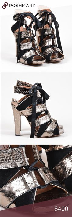 """Azzedine Alaïa Suede/Snakeskin Lace Up Sandals 38 Comes with signature buckle box and dust bags. Showstopping sandals to make a statement with any outfit. Contrasting suede and snakeskin. Peep toe with a thick heel and ankle strap. From ribbon lace up cloudier. 4"""" heel. Authenticity guaranteed. Worn one time, slight marks on sole, no noticeable wear on upper. Upper: suede, snakeskin. Outsole and insole: leather. Alaia Shoes Heels"""