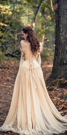 Medieval Wedding Dresses For Non-Traditional Wedding ★ a line lace off the shoulder with corset medieval wedding dresses vintage cyril sonigo robe dresses dresses beach dresses boho dresses lace dresses princess dresses vintage Viking Wedding Dress, Renaissance Wedding Dresses, Wedding Gowns, Medieval Wedding Dresses, Corset Wedding Dresses, Woodland Wedding Dress, Fantasy Wedding Dresses, Celtic Dress, Nontraditional Wedding