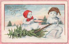 DRESSED SNOWMAN BRINGS HOME CHRISTMAS TREE Whitney 1918 VINTAGE POSTCARD