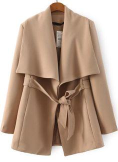 Mantel Langarm mit Gürtel, aprikosenfarbe 38.25