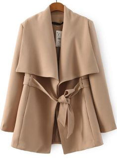 Lapel Belted Apricot Coat 35.90
