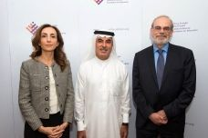 Left to right: Maysa Jalbout, CEO of the Abdulla Al Ghurair Foundation for Education; Abdul Aziz Al Ghurair, chair of the board of trustees; and Eric L. Grimson, MIT chancellor for academic advancement.