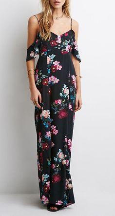 Black, Spaghetti Strap, Floral Print, Backless,  Maxi Dress