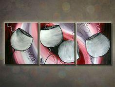 Ručne maľovaný obraz KVETY 3 dielny 120x50cm 748/MO