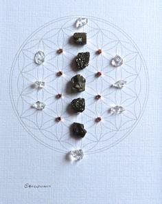 ABUNDANCE & LUCK--- framed crystal grid ---pyrite, copper, clear quartz--- sacred geometry by CrystalGrids on Etsy https://www.etsy.com/listing/198402641/abundance-luck-framed-crystal-grid