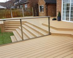 Multi-layered decking area using our DURATRAC Oak coloured composite decking. Environmentally friendly and aesthetically beautiful. Thanks TD