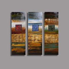 Pintura al óleo pintada a mano abstracta moderna con extendía Frame Set de 3 - MXN $ 2,113.58