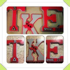Painted Tau Kappa Epsilon Greek Letters. TKE Sigma Tau, Alpha Sigma Alpha, Kappa, Fraternity Crafts, Craft Projects, Craft Ideas, Guy Friends, Greek Life, Guy Stuff
