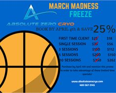There's only 4 days left to take advantage of our limited time March Madness sale on Cryotherapy packages! Be sure to book by April 4th to take advantage! ‪#‎MarchMadness‬ ‪#‎Cryotherapy‬ ‪#‎Special‬ #fitness #health