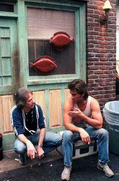 John Carpenter anfd Kurt Russell on set of Big Trouble in Little China