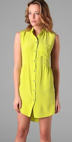 As inspired by Mama Shelter: A nearly blinding neon yellow Shipley & Halmos dress that would look so great with neutral accessories.
