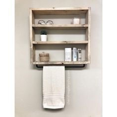 Towel Shelf, Towel Rack Bathroom, Bathroom Storage, Bathroom Interior, Washroom, Wooden Bathroom Shelves, Rustic Shelves, Wooden Shelves, Black Towels