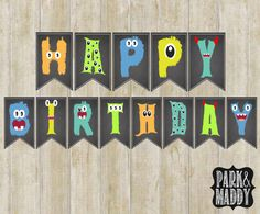 PRINTABLE MONSTER BIRTHDAY BANNER  ♥ DOWNLOAD INCLUDES ------------------------------------- 2 ZIP folders with 21 JPEG files total. -14 8x10 JPEG