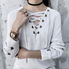 The sweater of the season is here in dreamy silver lace-up! Get it in this sweet color and others online now!