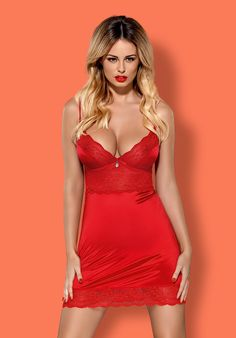 Lovica - red chemise & thong - color: Red - Obsessive