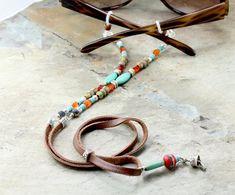 Tribal Turquoise Leather Eyeglass Chain Boho Glasses Chain | Etsy Scarf Jewelry, Leather Jewelry, Metal Jewelry, Beaded Lanyards, Eyeglass Holder, Leather Projects, Crystal Beads, Eyeglasses, Jewelry Making
