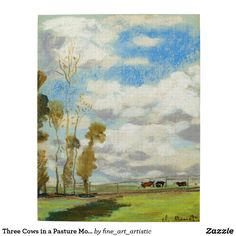 Three Cows in a Pasture Monet Fine Art Jigsaw Puzzle