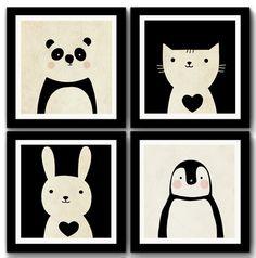 Kit 4 Quadros Panda Gato Coelho Pinguim
