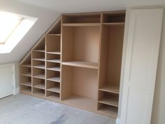 Loft room conversion. Wardrobe to fit sloping ceiling. Interior layout. #Fitness_Wardrobes_Layout