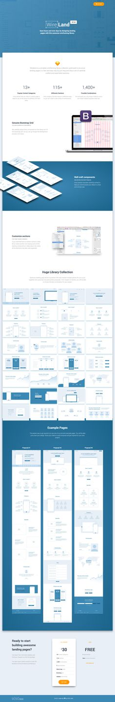 WIRELAND is a complete wireframing library collection optimized to structure landing pages composed by 115+ different sections in 14+ popular categories which allow you to make over 1,400+ differents layout combinations.