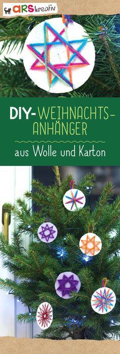 Weihnachtsanhänger aus Wolle und Karton #Bastelanleitung auf #arskreativ #DIY