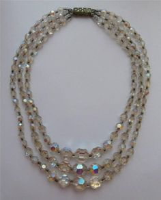 Vintage 1950 s 3-String Facetted Crystal Bead Necklace Prom Evening Bridal PanAm