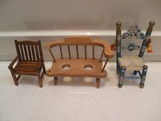"Wooden Dolls House Garden Chair 3.5""High With 2 Other Wooden Miniature Chairs"