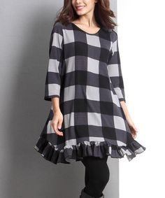Reborn Collection Black Buffalo Check Ruffle-Hem Tunic | zulily