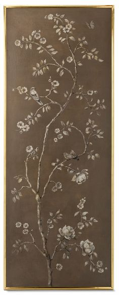 Uccello II Panel from Collection Ten by @ebanistacollect. Antiqued dove oil painting in gold and walnut gallery frame.