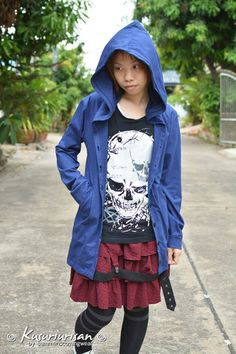 Blue navy long t shirt hoodie with button jacket long sleeve
