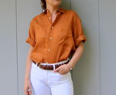 Perfect for Fall - linen safari tee. The color is pure heaven. Oversized for women with buttons up the front and a chest pocket. Turmeric Spice, New Shop, Vintage Tops, Tees, Shirts, Men Casual, Pure Products, Contemporary Clothing, Mens Tops