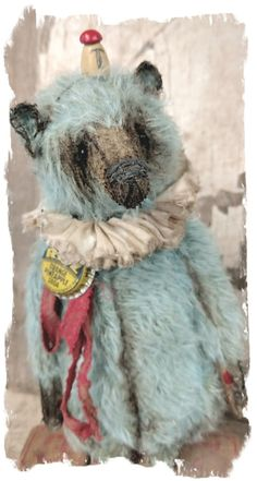 "Image of Antique Style - Old BLUE Mohair Carnival Teddy Bear -9"" w/RITZ charm By Whendi's Bears"