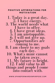 Affirmations for motivation. Affirmations For Women, Positive Affirmations Quotes, Self Love Affirmations, Morning Affirmations, Affirmation Quotes, Positive Quotes, Affirmations Confidence, Prosperity Affirmations, Positive Vibes